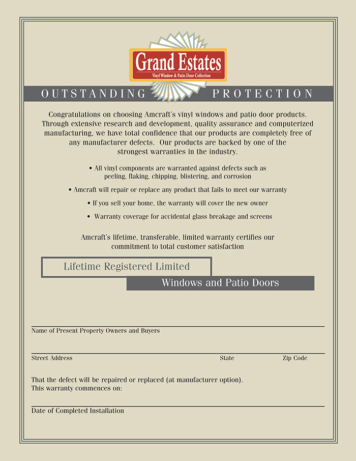 Grand Estates Window Warranty
